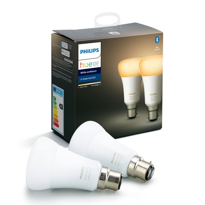 Philips Hue Bluetooth Smart Bulb - White Ambience B22 Twin Pack - Works with Alexa and Google Assistant*