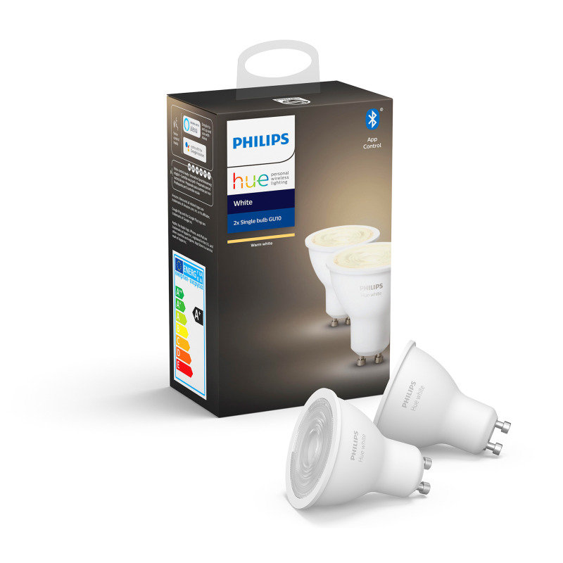Philips Hue Bluetooth White GU10 Smart Bulb Twin Pack - Works with Alexa and Google Assistant*