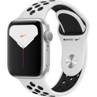 Apple Watch Nike Series 5 GPS,  40mm Silver Aluminium Case with Black Nike Sport Band