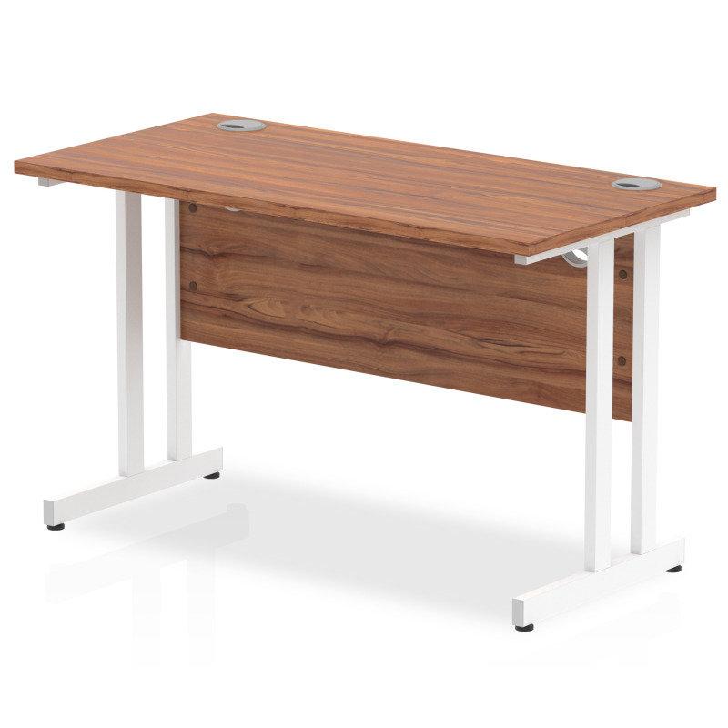 Impulse 1200mm x 600mm Rectangular White Cantilever Leg Desk - Walnut