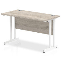 Impulse 1200mm x 600mm Rectangular White Cantilever Leg Desk - Grey Oak