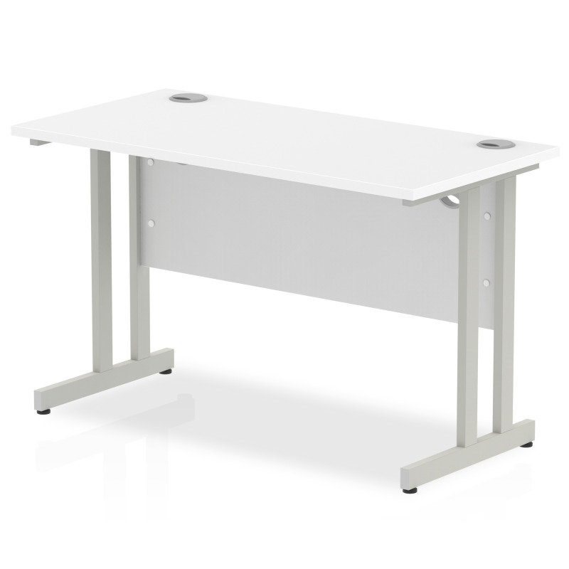 Image of Impulse 1200mm x 600mm Rectangular Silver Cantilever Leg Desk - White