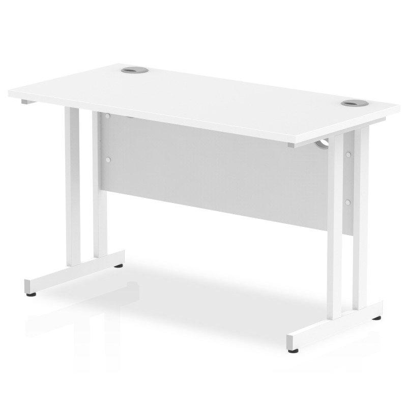 Impulse 1200mm x 600mm Rectangular White Cantilever Leg Desk - White