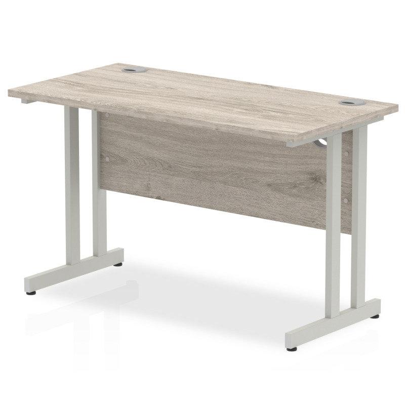 Impulse 1200mm x 600mm Rectangular Silver Cantilever Leg Desk - Grey Oak