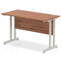 Impulse 1200mm x 600mm Rectangular Silver Cantilever Leg Desk - Walnut