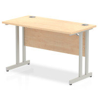 Impulse 1200mm x 600mm Rectangular Silver Cantilever Leg Desk - Maple