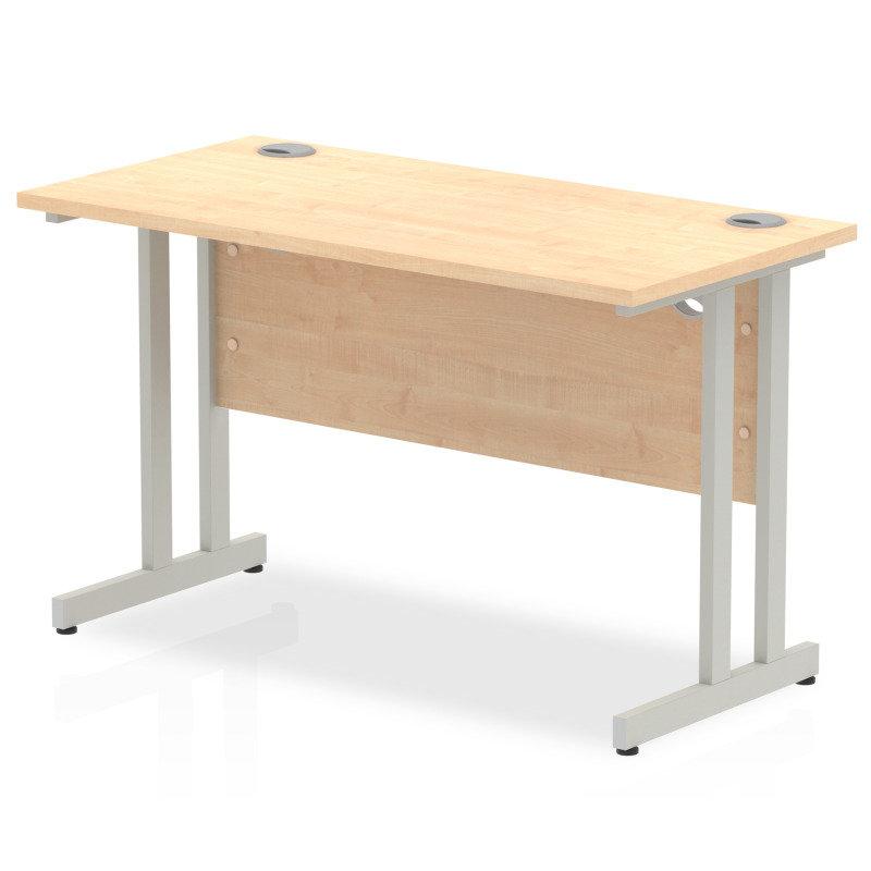 Impulse 1200mm x 600mm Rectangular Silver Cantilever Leg Desk - Maple