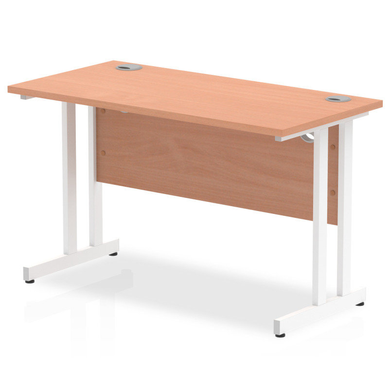 Impulse 1200mm x 600mm Rectangular White Cantilever Leg Desk - Beech