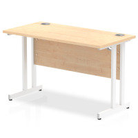 Impulse 1200mm x 600mm Rectangular White Cantilever Leg Desk - Maple