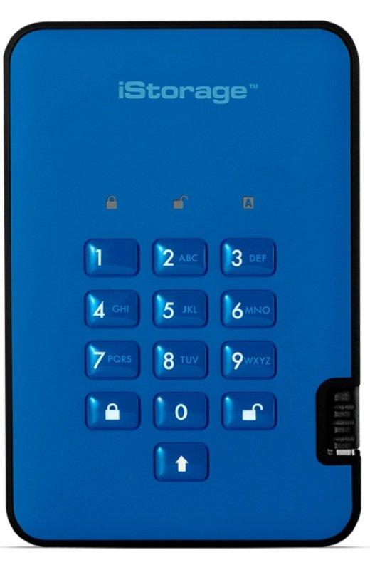 iStorage diskAshur2 256-bit 8TB USB 3.1 secure encrypted solid-state drive - Ocean Blue