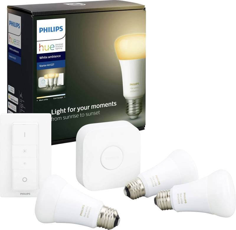 Philips Hue White Ambience Smart Bulb Starter Kit E27 - Works with Alexa and Google Assistant