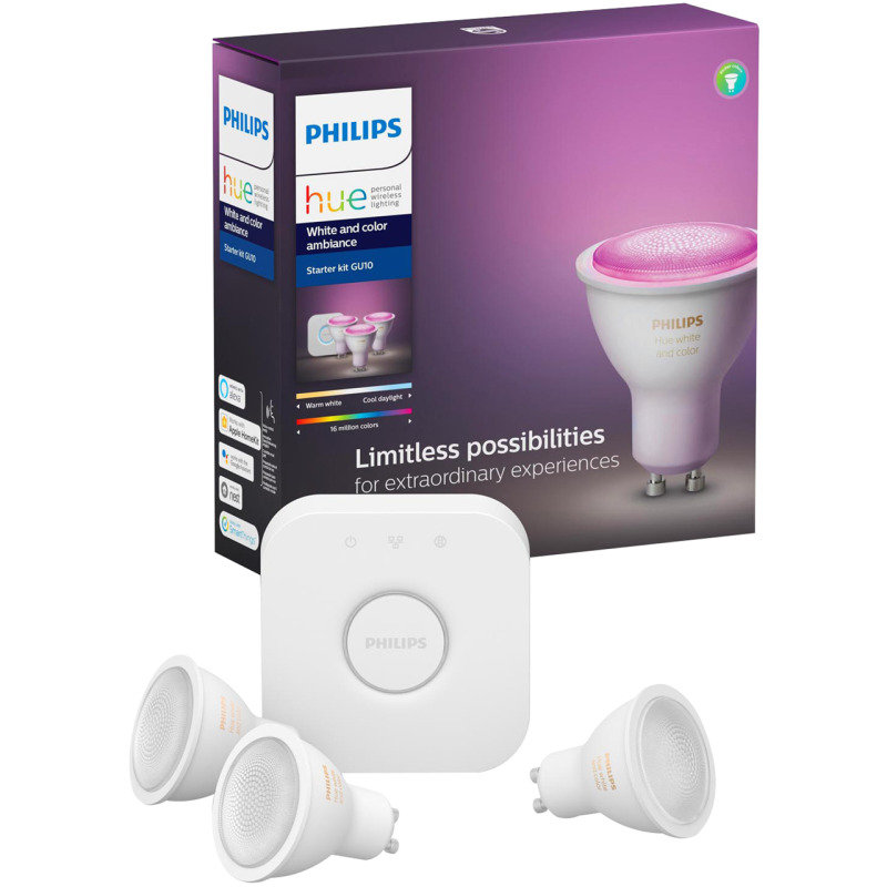 Philips Hue Bluetooth White And Colour Ambiance GU10 Smart Bulb Starter Kit - Works with Alexa and Google Assistant