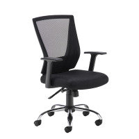Miller Black Mesh Back Operator Chair With Black Fabric Seat And Chrome Base