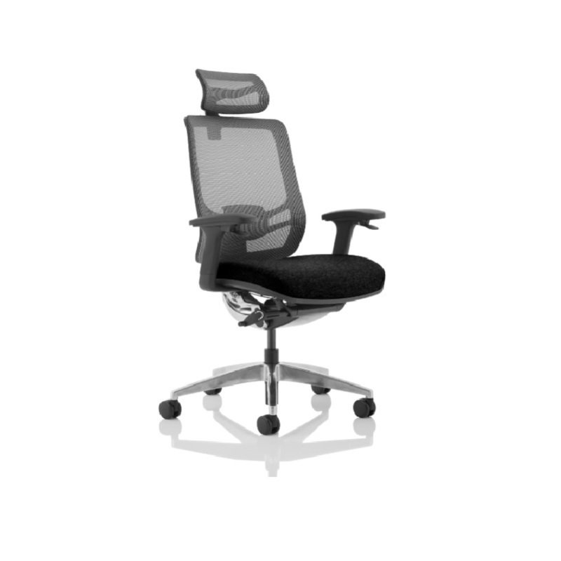 Ergo Click - Fabric Seat, Mesh Back with Headrest, Black