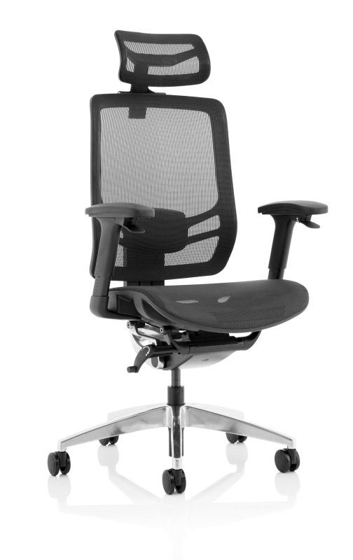 Ergo Click - Mesh Seat, Mesh Back with Headrest, Black