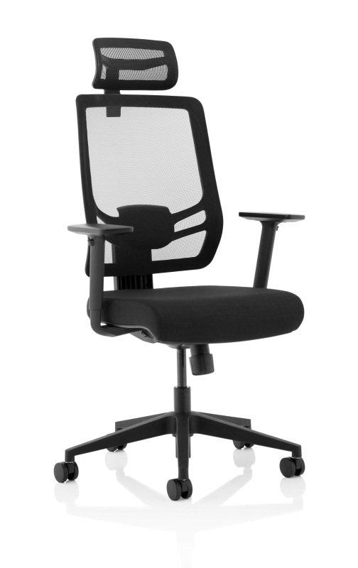Ergo Twist - Fabric Seat, Mesh Back with Headrest, Black