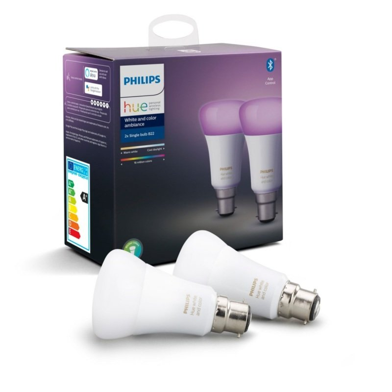 Philips Hue Bluetooth White And Colour Ambiance B22 Smart Bulb Twin Pack - Works with Alexa and Google Assistant*
