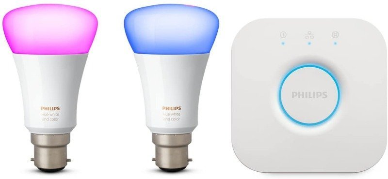Philips Hue White and Colour Ambience Smart Bulb Mini Starter Kit B22 - Works with Alexa and Google Assistant