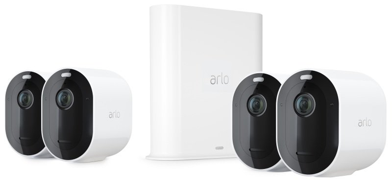 Arlo Pro3 Smart Home Security Cameras | Alarm | Rechargeable | Colour Night Vision | Indoor/Outdoor | 2K QHD | 2-Way Audio | Spotlight | 4 Camera Kit | VMS4440P