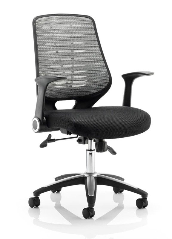 Relay Task Operator Chair - Airmesh Seat, Back With Arms - Silver