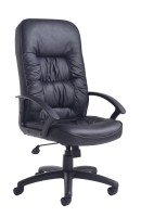 King High Back Manager's Chair - Leather Faced, Black
