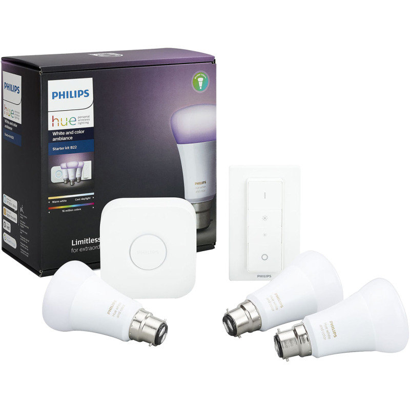 Philips Hue White and Colour Ambience Smart Bulb Starter Kit B22 - Works with Alexa and Google Assistant