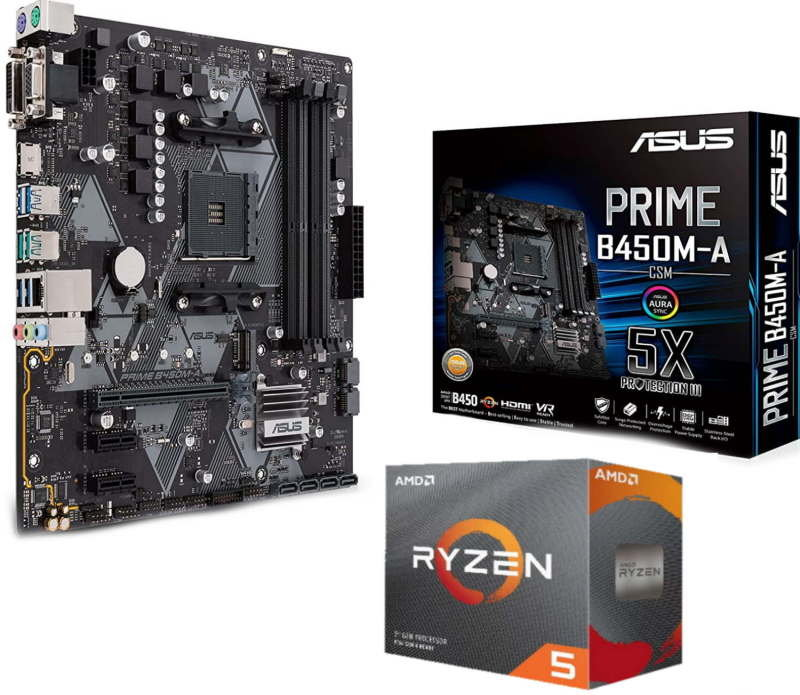 Image of Asus PRIME B450M-A mATX Motherboard with AMD Ryzen 5 3600 AM4 CPU/ Processor