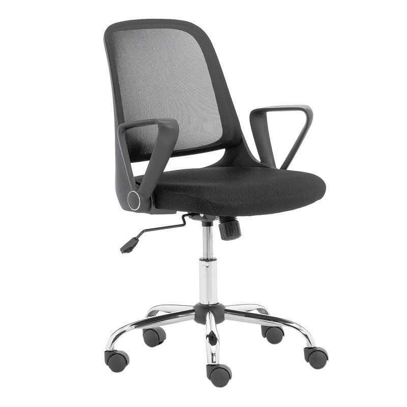 Image of Try - Mesh Back Operator Chair With Fabric Seat And Chrome Base