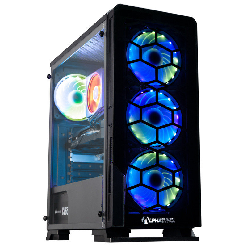 Image of AlphaSync Gaming Desktop PC, AMD Ryzen 7 2700X, 16GB RAM, 1TB HDD, 240GB SSD, Gigabyte RTX 2070 Windforce, WIFI, Windows 10 Home