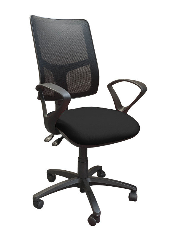 Clifton Mesh Back Operators Chair With Fabric Seat - Charcoal