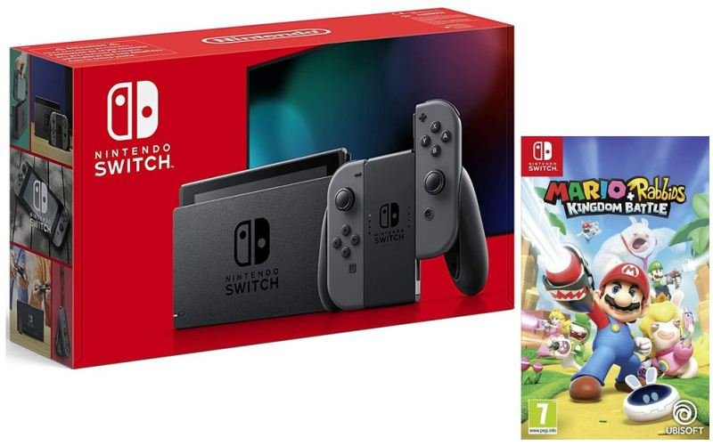 Nintendo Switch Grey & Mario + Rabbids Kingdom Battle