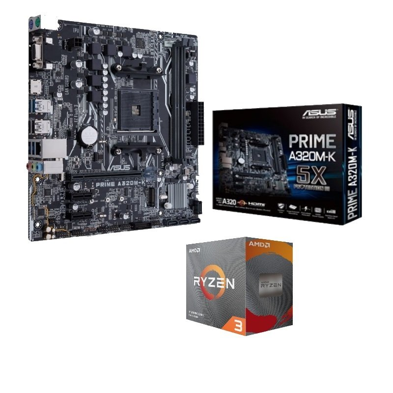 ASUS A320M-K Prime mATX Motherboard with AMD Ryzen 3 3100 AM4 Processor