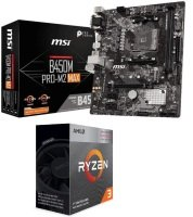 MSI B450M PRO-M2 MAX Motherboard with AMD Ryzen 3 3200G AM4 Processor Bundle