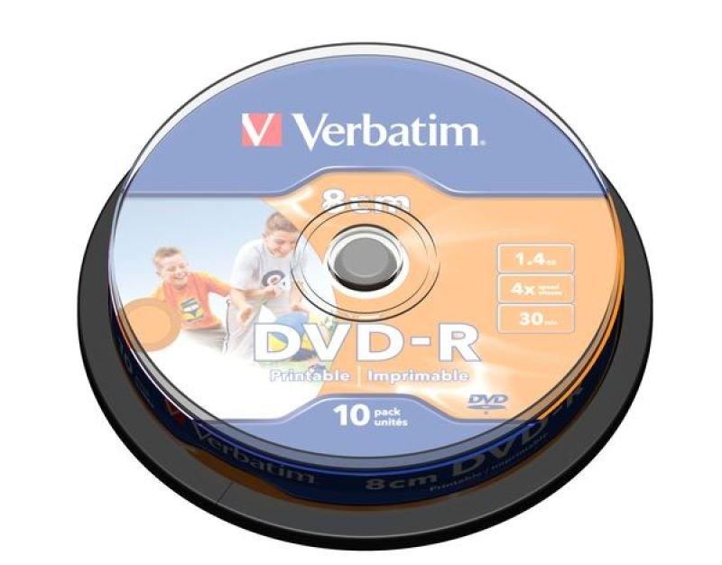 Verbatim 43573 8cm 4x Blank DVDR Printable  10 Pack Spindle