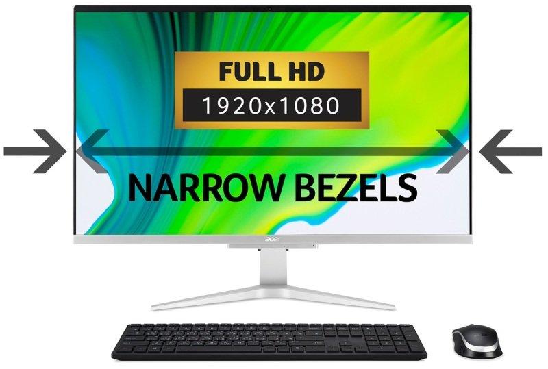 "Acer Aspire C27-962 AIO 27"" Core i5 10th Gen 8GB DDR4 1TB HDD 128GB SSD Win10 Home Desktop PC"