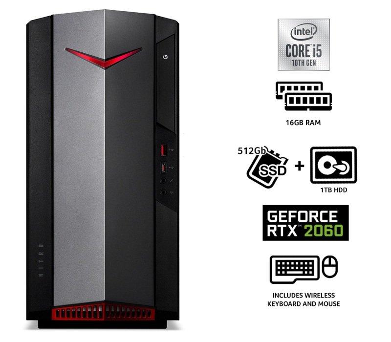 Acer Nitro N50-610 Core i7 10th Gen 16GB RAM 1TB HDD 512GB SSD RTX 2060 Gaming Desktop PC
