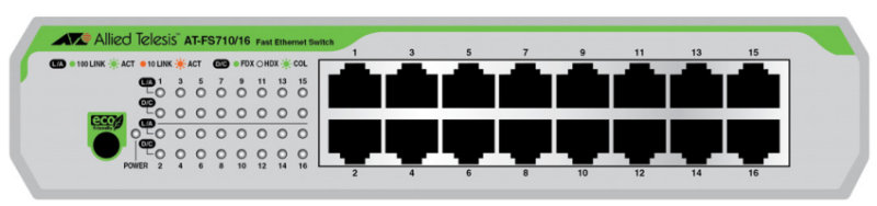 Allied Telesis AT-FS710/16-50 - 16 Port - Unmanaged Fast Ethernet Switch (10/100)