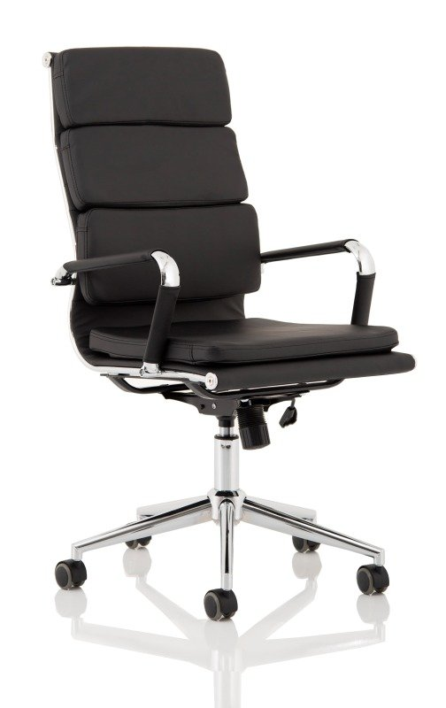 Hawkes Black Leather Chrome Frame Executive Chair