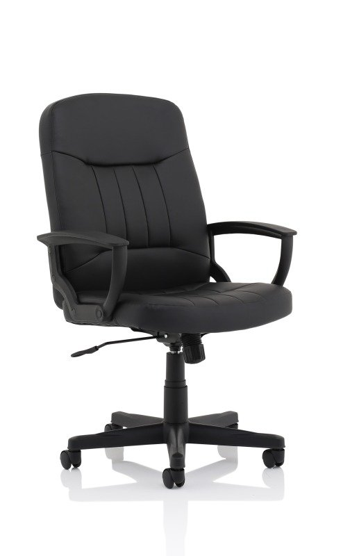 Image of Hague Black Leather Executive Chair With Fixed Arms