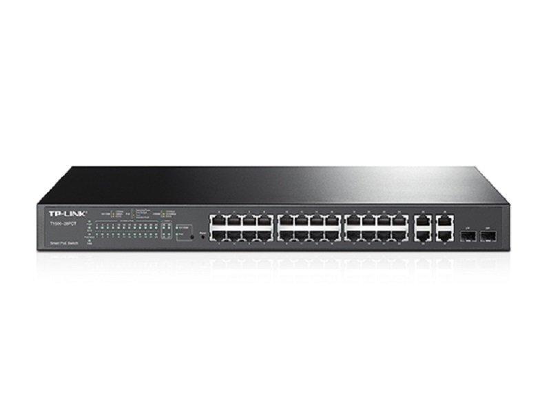 TP-Link JetStream 24-Port 10/100Mbps + 4-Port Gigabit Smart PoE Switch with 24-Port PoE+