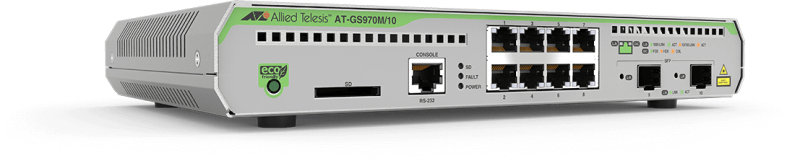 Allied Telesis AT-GS970M/10-50 - 8 Ports - Managed L3 Gigabit Ethernet Switch