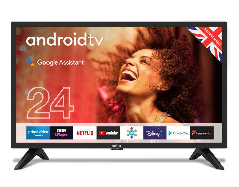 """Cello C2420G 24"""" Smart Android TV with Google Assistant and Freeview Play"""