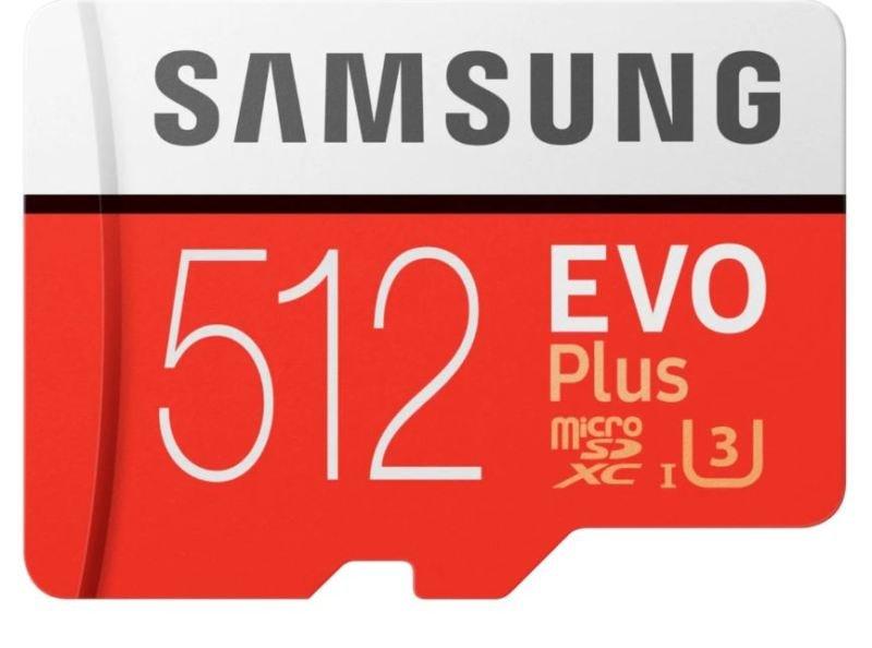 Image of SAMSUNG EVO PLUS 512GB MICROSDHC FLASH MEMORY CARD WITH SD ADAPTER