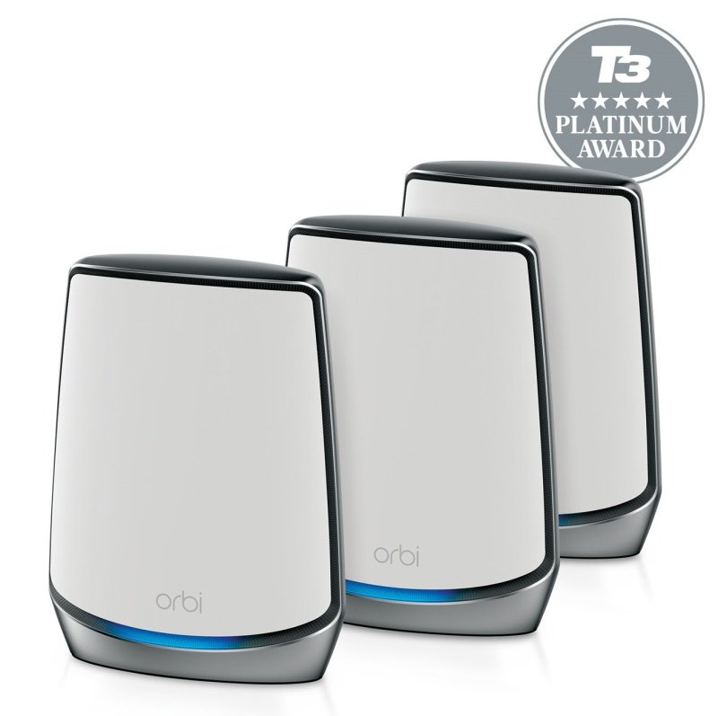 NETGEAR Orbi WiFi 6 Mesh System AX6000 (RBK853) | WiFi 6 Router with 2 Satellite Extenders