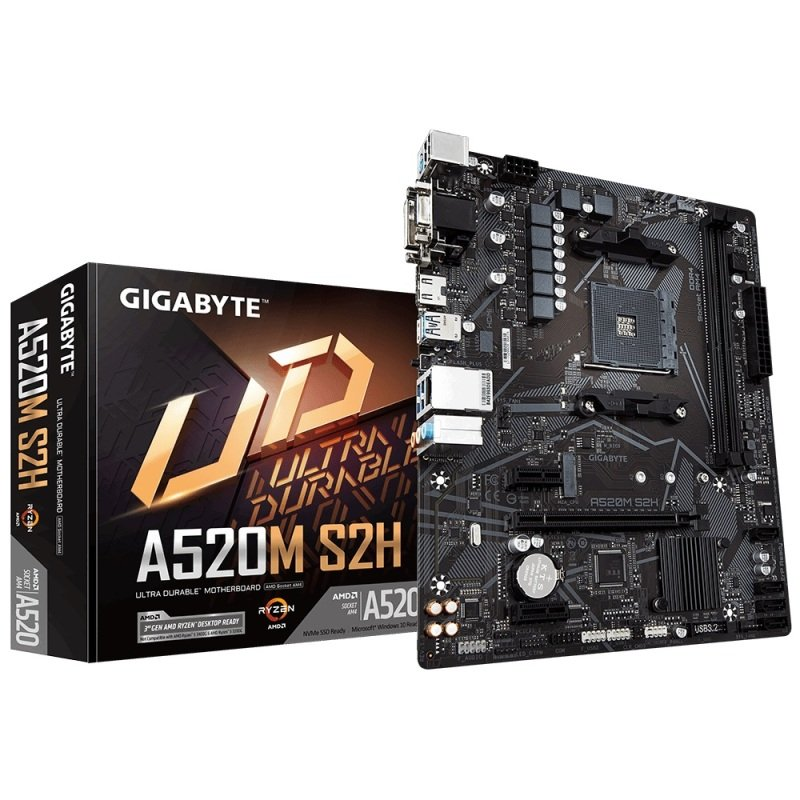 Gigabyte A520M S2H AMD Socket AM4 mATX Motherboard