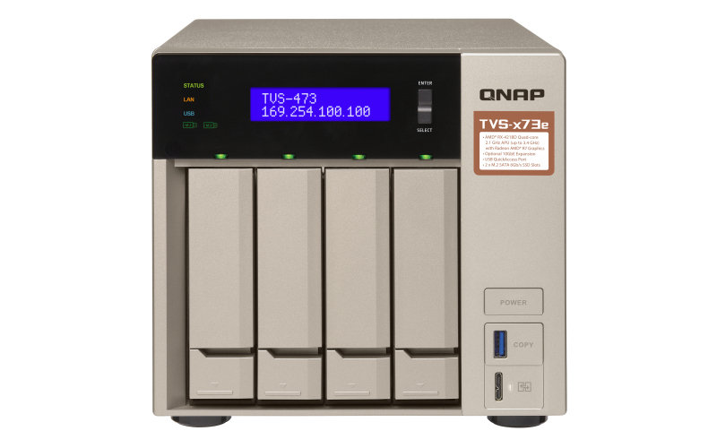 QNAP TVS-473e-4G (4 x 2TB Seagate IronWolf SATA NAS HDD 5900RPM) - 4 bay desktop NAS with 8TB HDD