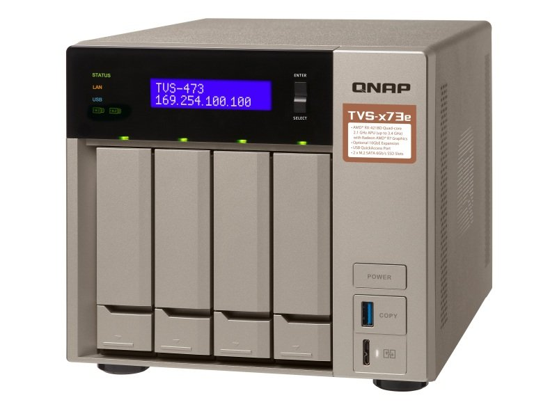QNAP TVS-473e-4G 8TB (4 x 2TB WD RED PRO) - 4 Bay NAS with 4GB RAM