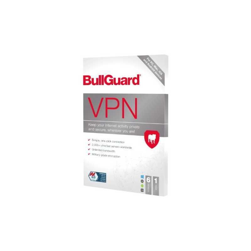 BullGuard VPN 2021 (Retail 5 Pack) - 5 x 6 Device Licences 1 Year - PC Mac Android & iOS