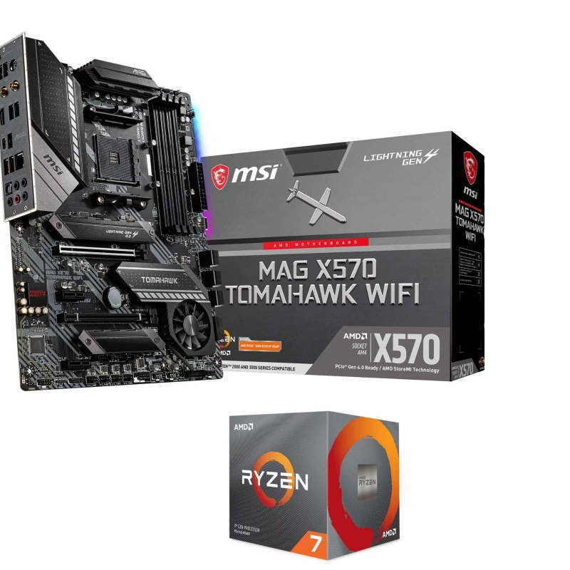 Image of MSI MAG X570 TOMAHAWK WIFI AM4 ATX Motherboard with AMD Ryzen 7 3700X AM4 CPU/ Processor Bundle