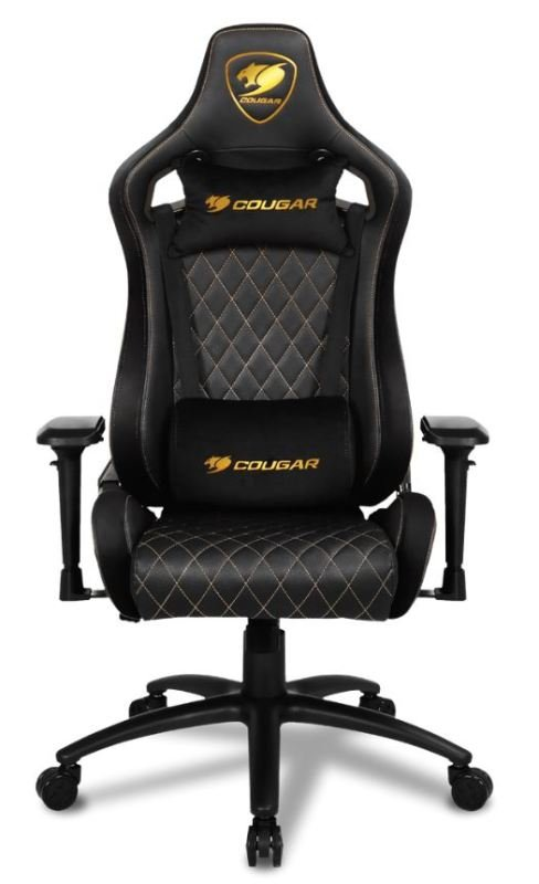 Cougar Armor S Royal Gaming Chair with Reclining and Height Adjustment (Black with Gold Stiching)
